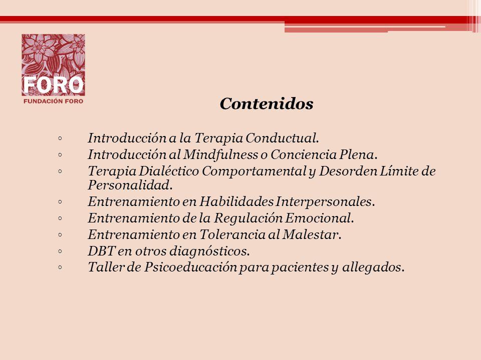 Contenidos Introducción a la Terapia Conductual.