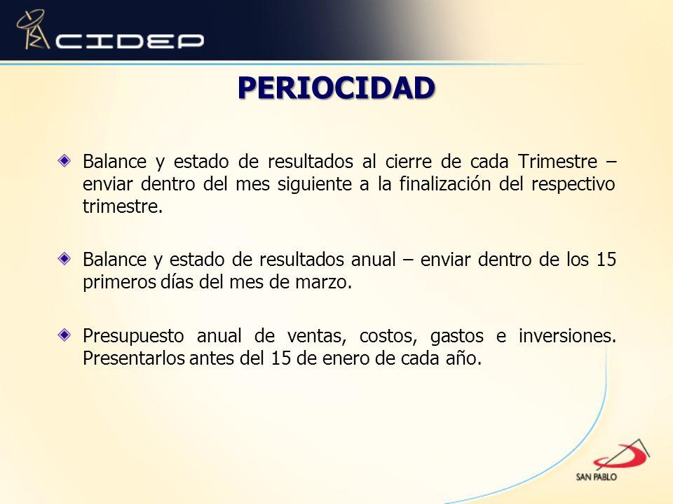 PERIOCIDAD Balance y estado de resultados al cierre de cada Trimestre – enviar dentro del mes siguiente a la finalización del respectivo trimestre.