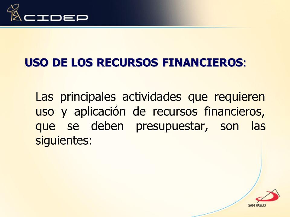 USO DE LOS RECURSOS FINANCIEROS: