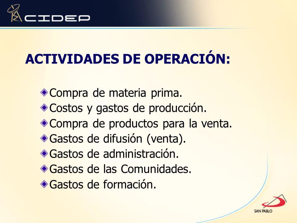 ACTIVIDADES DE OPERACIÓN: