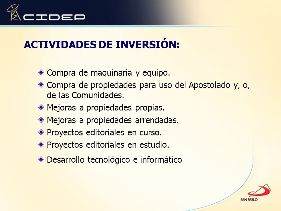 ACTIVIDADES DE INVERSIÓN: