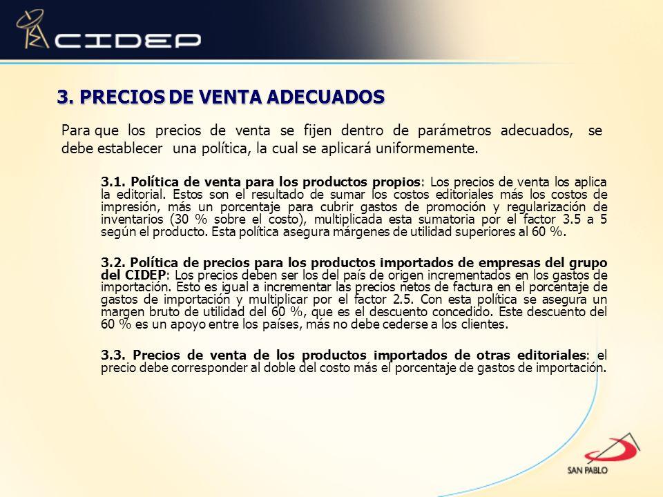 3. PRECIOS DE VENTA ADECUADOS
