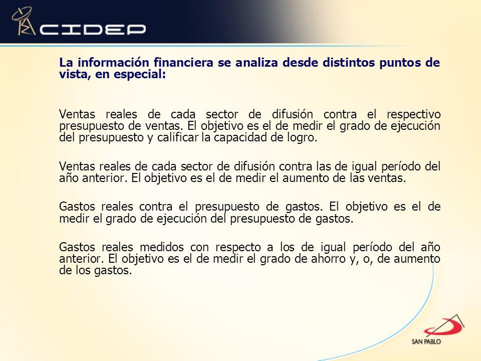 La información financiera se analiza desde distintos puntos de vista, en especial: