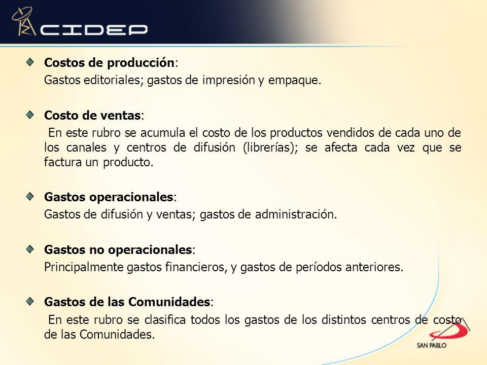 Costos de producción: Gastos editoriales; gastos de impresión y empaque. Costo de ventas: