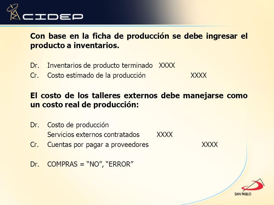 Con base en la ficha de producción se debe ingresar el producto a inventarios.
