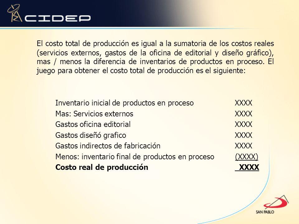 El costo total de producción es igual a la sumatoria de los costos reales (servicios externos, gastos de la oficina de editorial y diseño gráfico), mas / menos la diferencia de inventarios de productos en proceso.