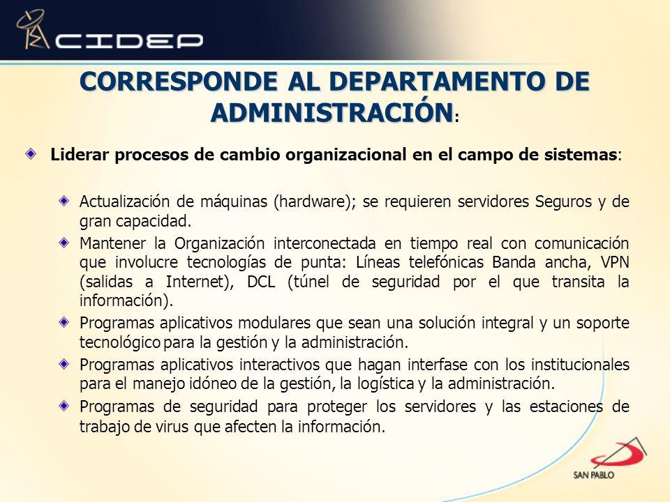 CORRESPONDE AL DEPARTAMENTO DE ADMINISTRACIÓN: