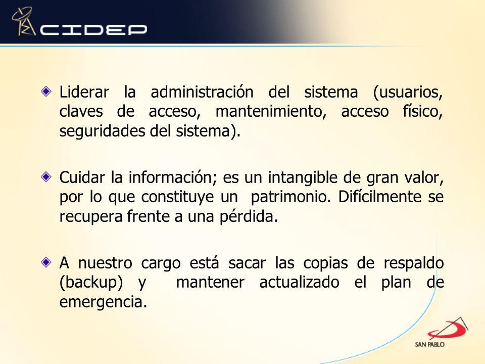 Liderar la administración del sistema (usuarios, claves de acceso, mantenimiento, acceso físico, seguridades del sistema).