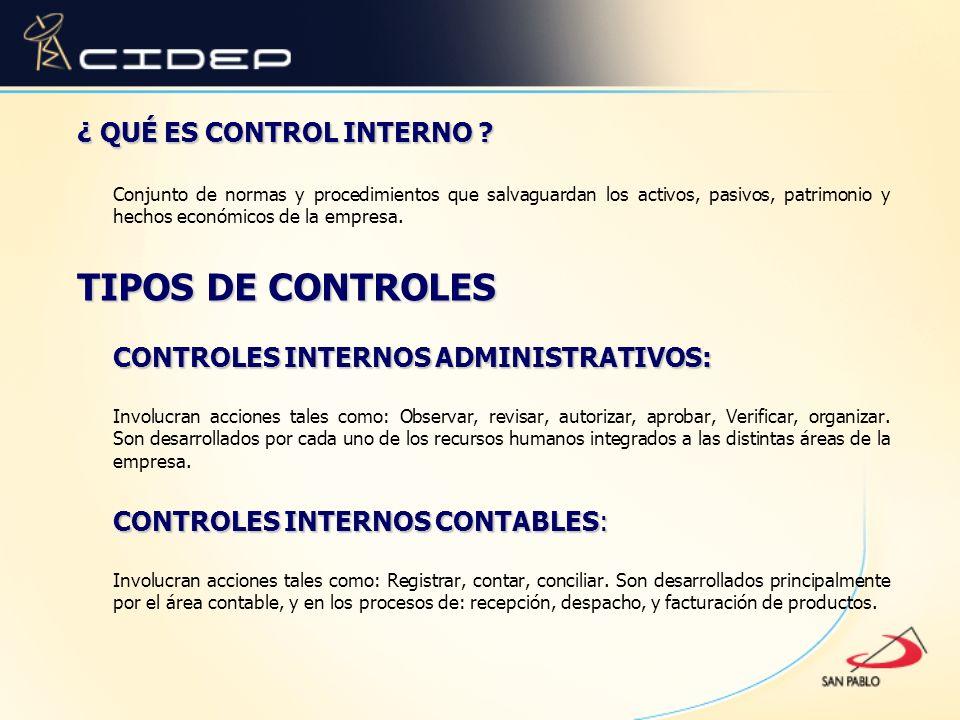 TIPOS DE CONTROLES ¿ QUÉ ES CONTROL INTERNO