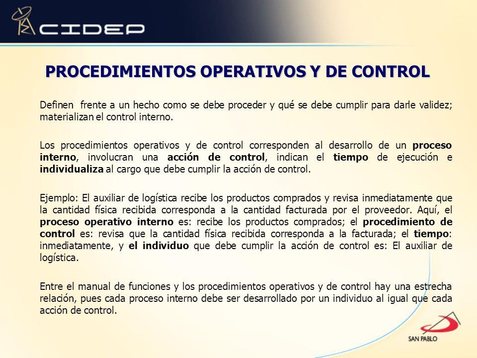 PROCEDIMIENTOS OPERATIVOS Y DE CONTROL