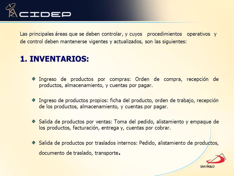 Las principales áreas que se deben controlar, y cuyos procedimientos operativos y