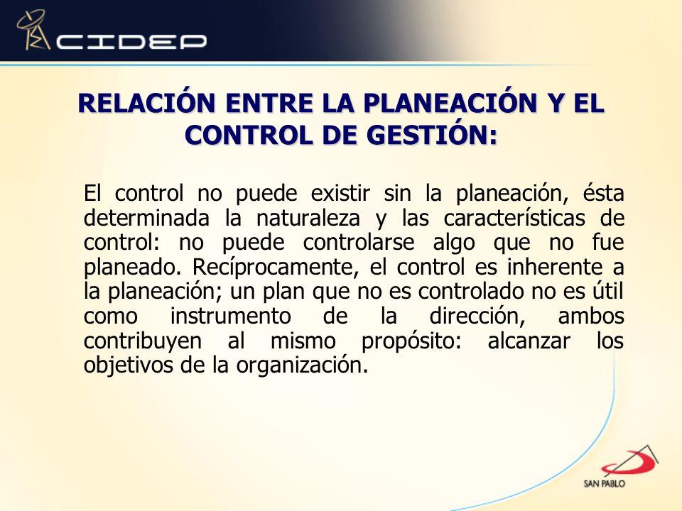 RELACIÓN ENTRE LA PLANEACIÓN Y EL CONTROL DE GESTIÓN: