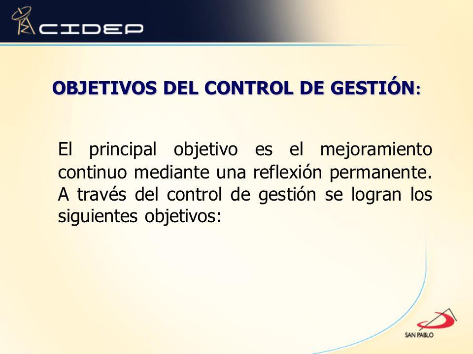 OBJETIVOS DEL CONTROL DE GESTIÓN: