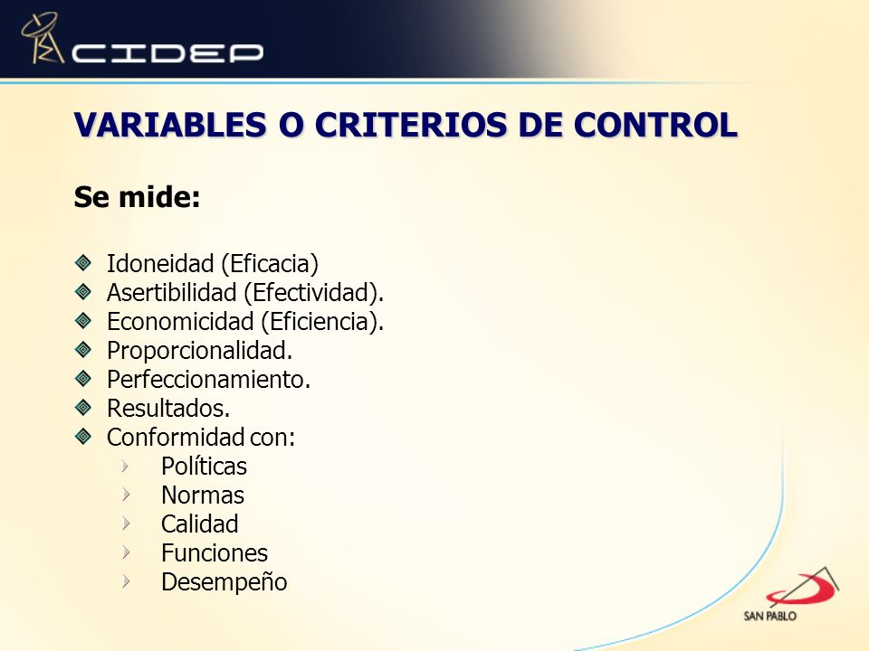 VARIABLES O CRITERIOS DE CONTROL