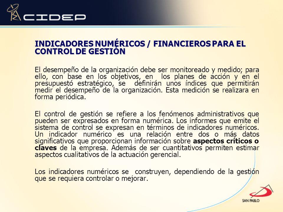 INDICADORES NUMÉRICOS / FINANCIEROS PARA EL CONTROL DE GESTIÓN