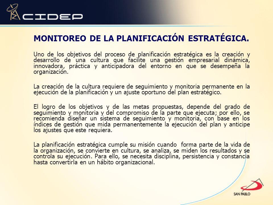 MONITOREO DE LA PLANIFICACIÓN ESTRATÉGICA.