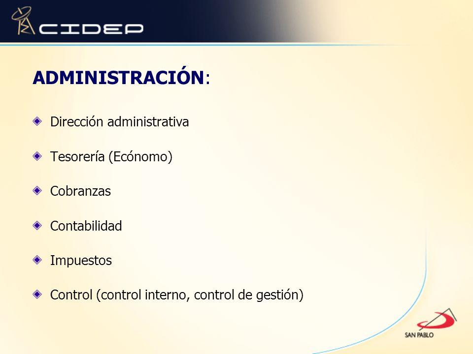 ADMINISTRACIÓN: Dirección administrativa Tesorería (Ecónomo) Cobranzas