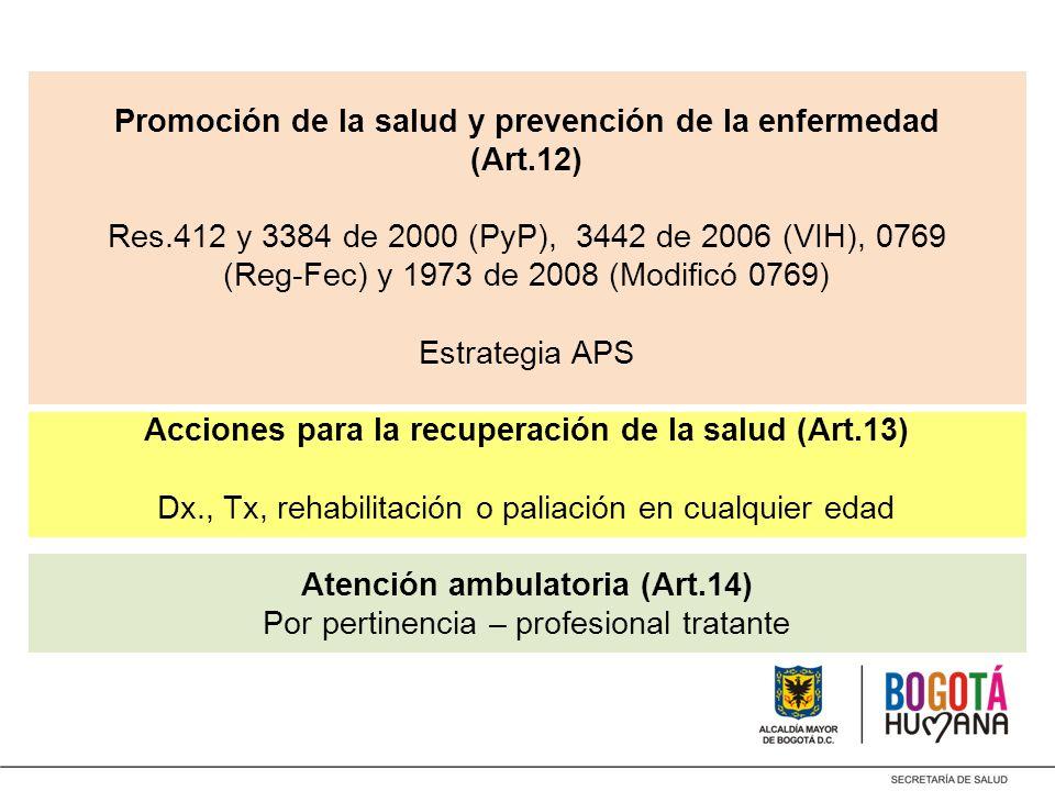 Promoción de la salud y prevención de la enfermedad (Art. 12) Res