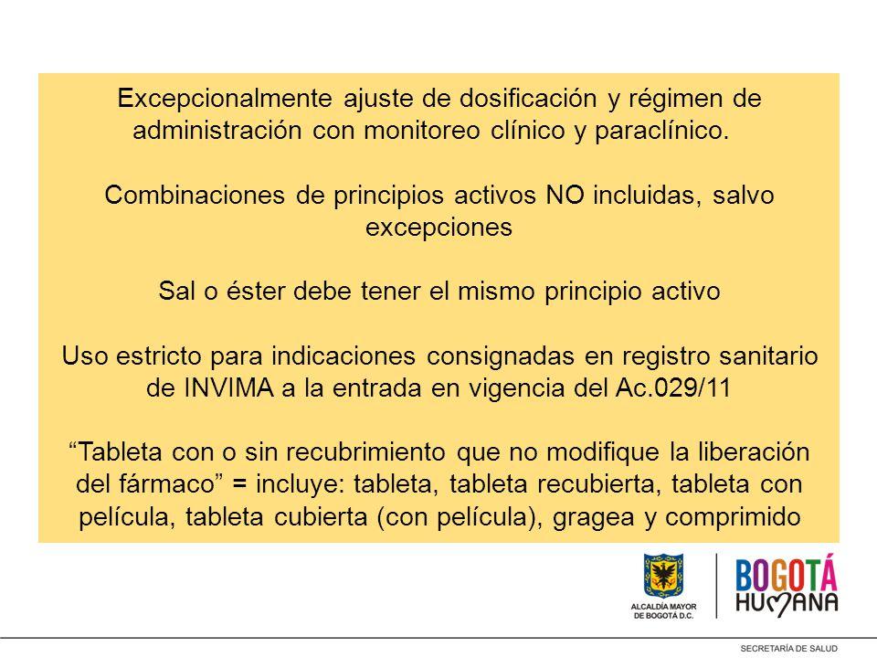 Excepcionalmente ajuste de dosificación y régimen de administración con monitoreo clínico y paraclínico.