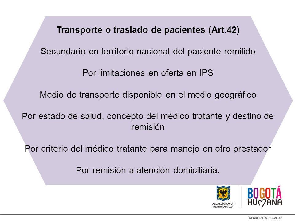 Transporte o traslado de pacientes (Art