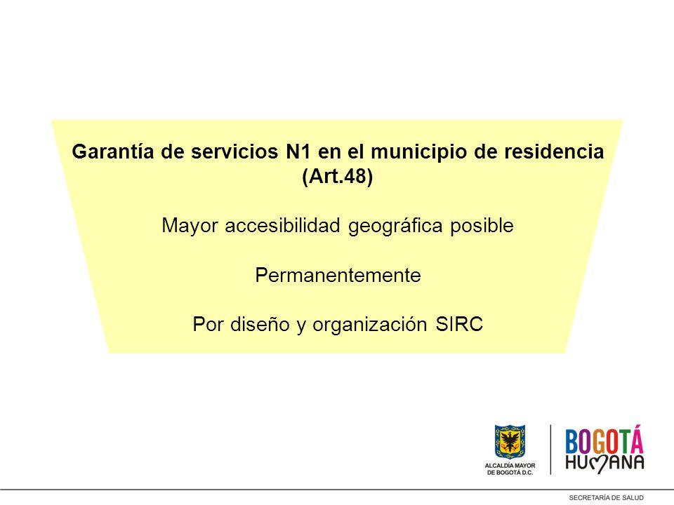 Garantía de servicios N1 en el municipio de residencia (Art