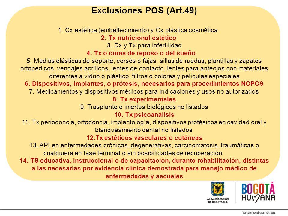 Exclusiones POS (Art.49) 1. Cx estética (embellecimiento) y Cx plástica cosmética 2.