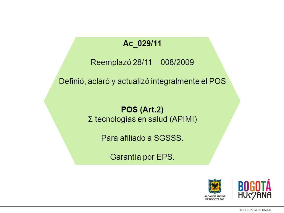 Ac_029/11 Reemplazó 28/11 – 008/2009 Definió, aclaró y actualizó integralmente el POS POS (Art.2) Σ tecnologías en salud (APIMI) Para afiliado a SGSSS.