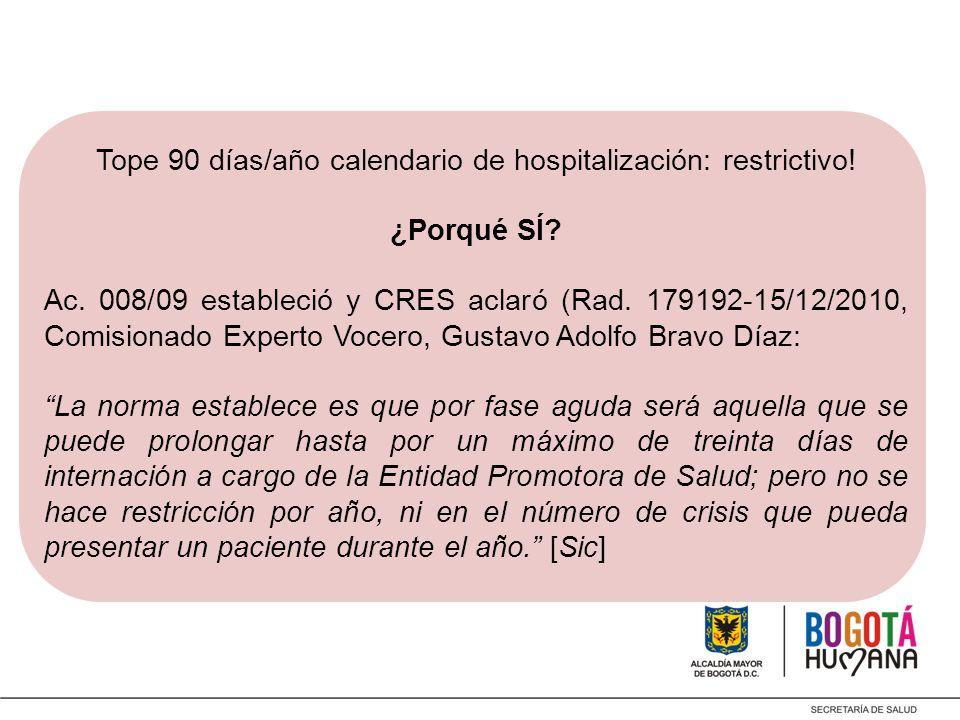 Tope 90 días/año calendario de hospitalización: restrictivo!