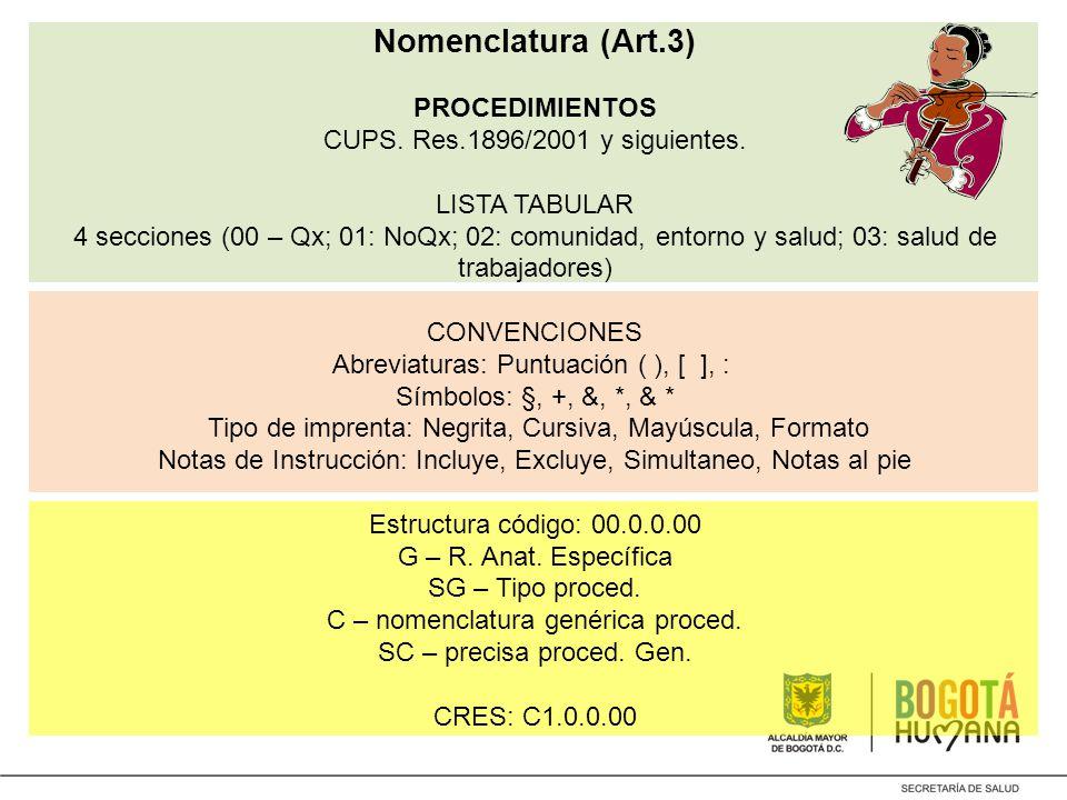 Nomenclatura (Art. 3) PROCEDIMIENTOS CUPS. Res. 1896/2001 y siguientes