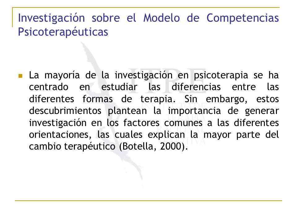 Investigación sobre el Modelo de Competencias Psicoterapéuticas