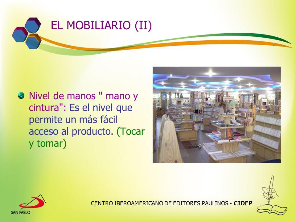 EL MOBILIARIO (II) Nivel de manos mano y cintura : Es el nivel que permite un más fácil acceso al producto. (Tocar y tomar)