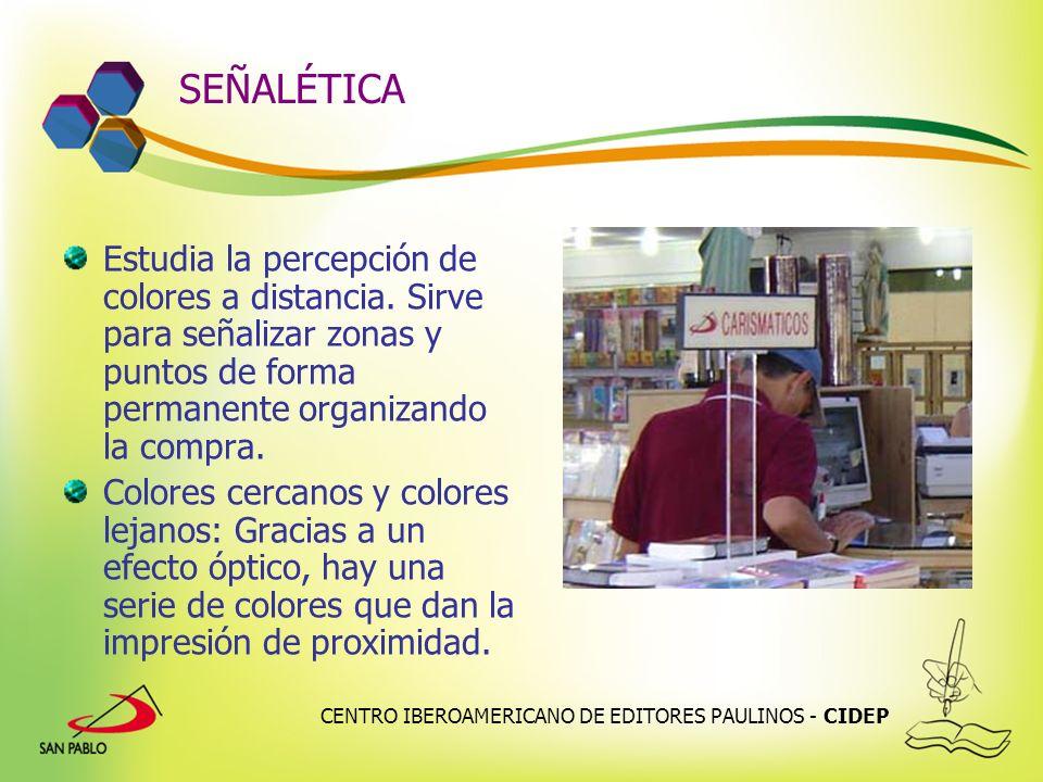 SEÑALÉTICA Estudia la percepción de colores a distancia. Sirve para señalizar zonas y puntos de forma permanente organizando la compra.