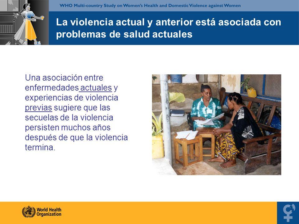 La violencia actual y anterior está asociada con problemas de salud actuales