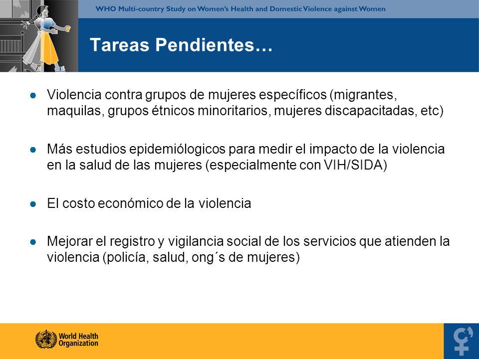 Tareas Pendientes… Violencia contra grupos de mujeres específicos (migrantes, maquilas, grupos étnicos minoritarios, mujeres discapacitadas, etc)