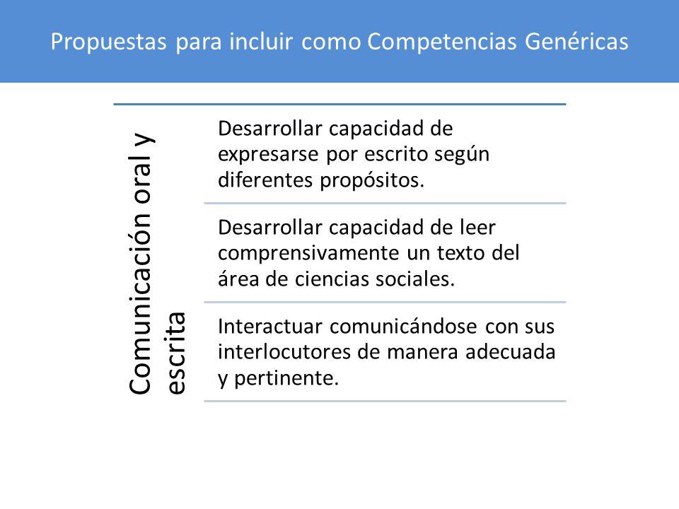 Propuestas para incluir como Competencias Genéricas