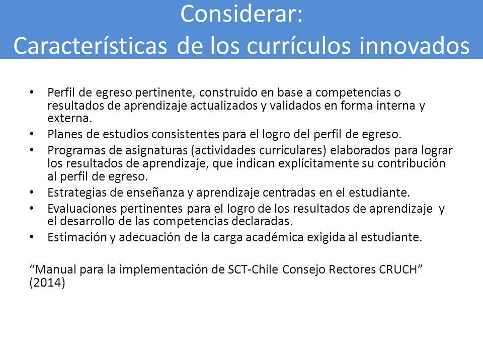 Considerar: Características de los currículos innovados