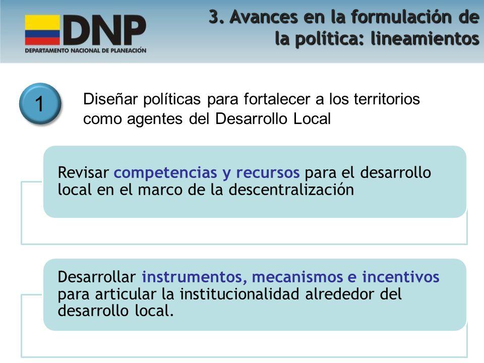 1 3. Avances en la formulación de la política: lineamientos