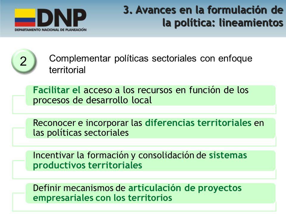 2 3. Avances en la formulación de la política: lineamientos