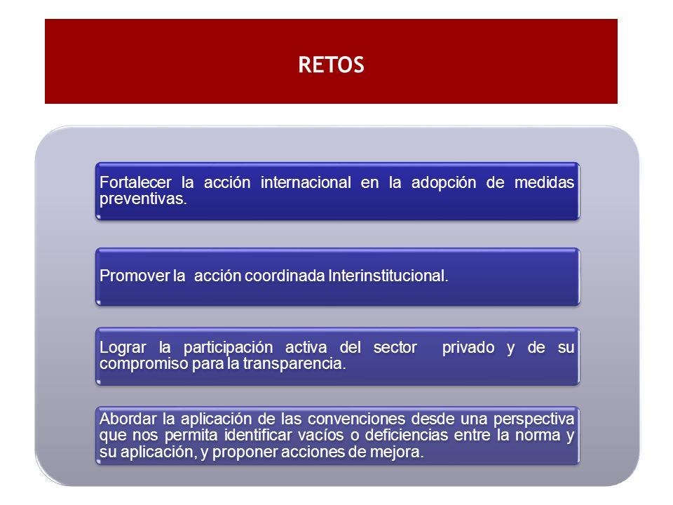 RETOS Fortalecer la acción internacional en la adopción de medidas preventivas. Promover la acción coordinada Interinstitucional.