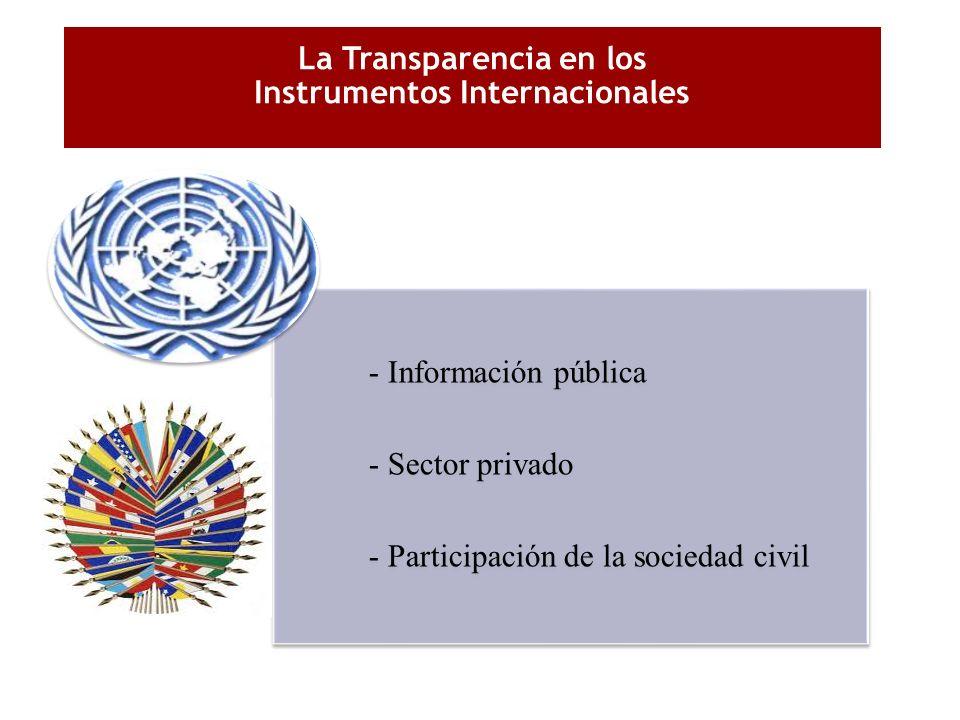 La Transparencia en los Instrumentos Internacionales