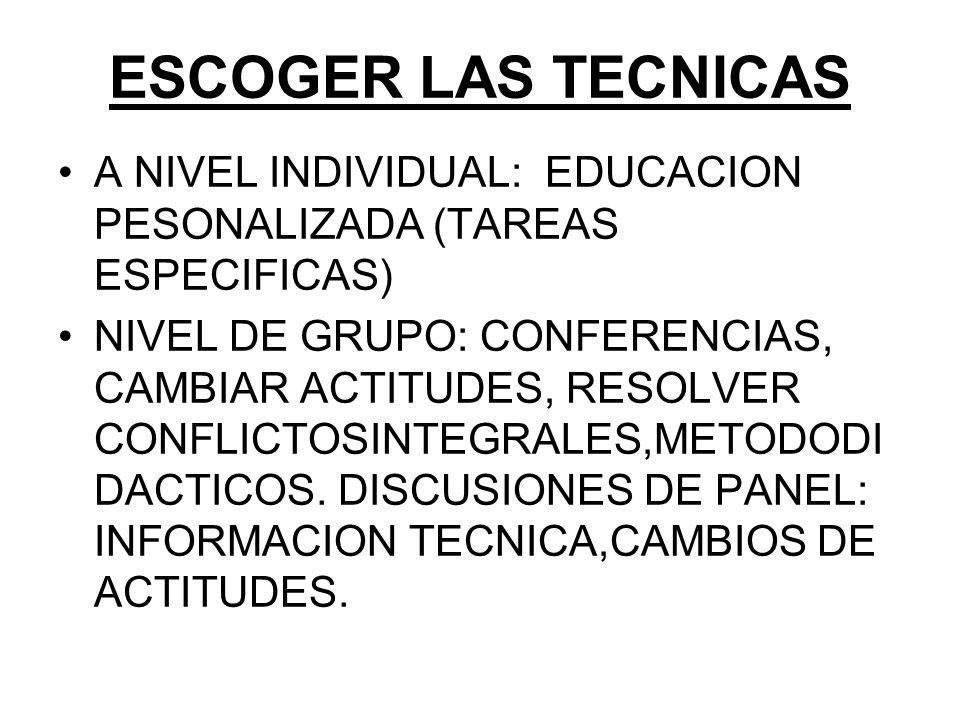 09/04/2017 ESCOGER LAS TECNICAS. A NIVEL INDIVIDUAL: EDUCACION PESONALIZADA (TAREAS ESPECIFICAS)