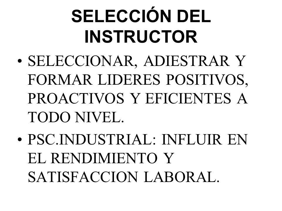 SELECCIÓN DEL INSTRUCTOR