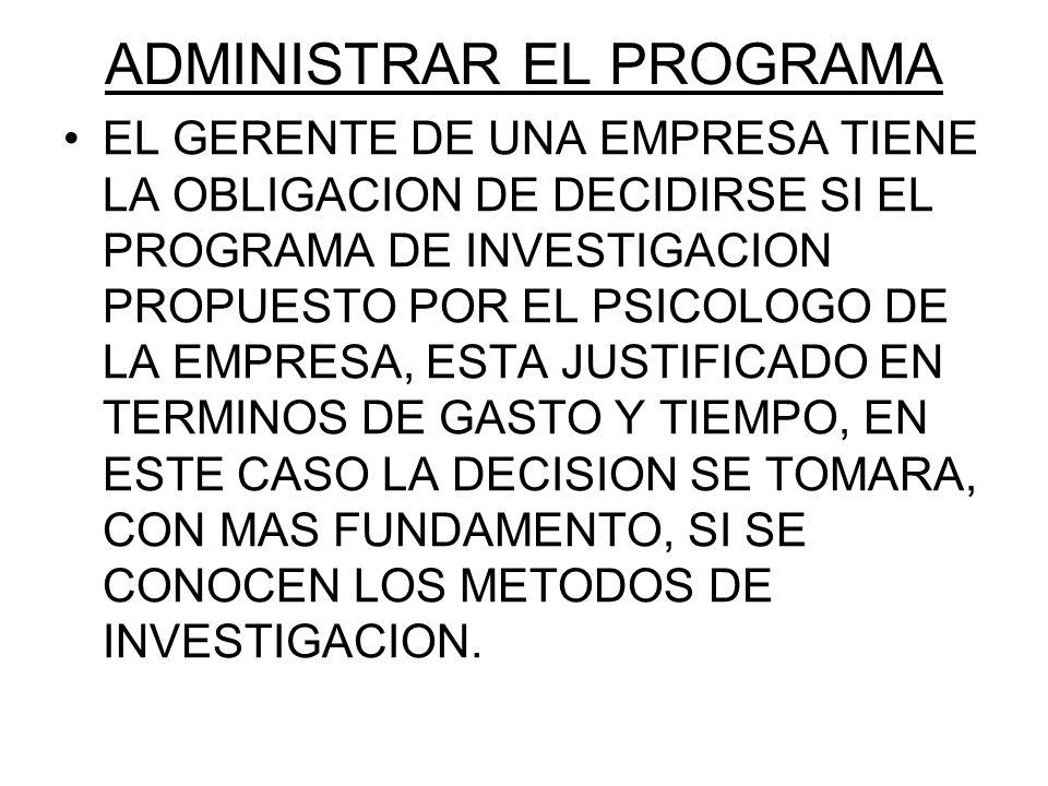 ADMINISTRAR EL PROGRAMA