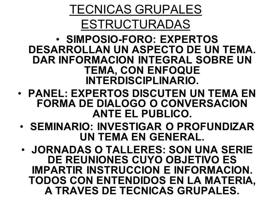 TECNICAS GRUPALES ESTRUCTURADAS