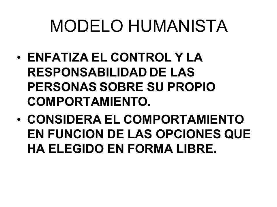 09/04/2017 MODELO HUMANISTA. ENFATIZA EL CONTROL Y LA RESPONSABILIDAD DE LAS PERSONAS SOBRE SU PROPIO COMPORTAMIENTO.