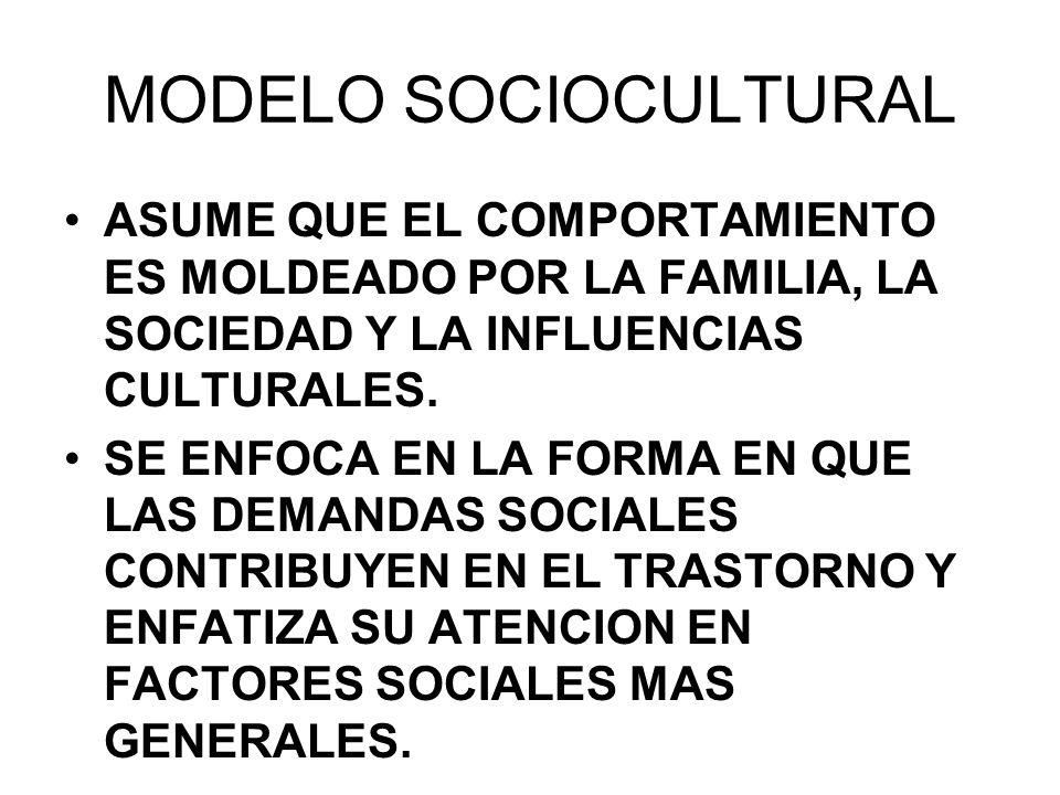 09/04/2017 MODELO SOCIOCULTURAL. ASUME QUE EL COMPORTAMIENTO ES MOLDEADO POR LA FAMILIA, LA SOCIEDAD Y LA INFLUENCIAS CULTURALES.