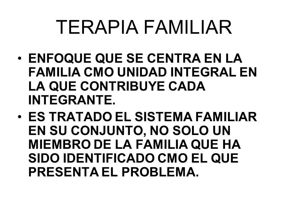 09/04/2017 TERAPIA FAMILIAR. ENFOQUE QUE SE CENTRA EN LA FAMILIA CMO UNIDAD INTEGRAL EN LA QUE CONTRIBUYE CADA INTEGRANTE.