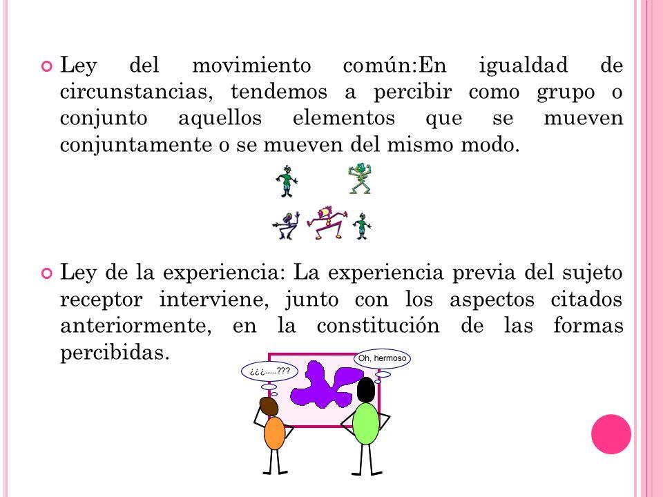 Ley del movimiento común:En igualdad de circunstancias, tendemos a percibir como grupo o conjunto aquellos elementos que se mueven conjuntamente o se mueven del mismo modo.