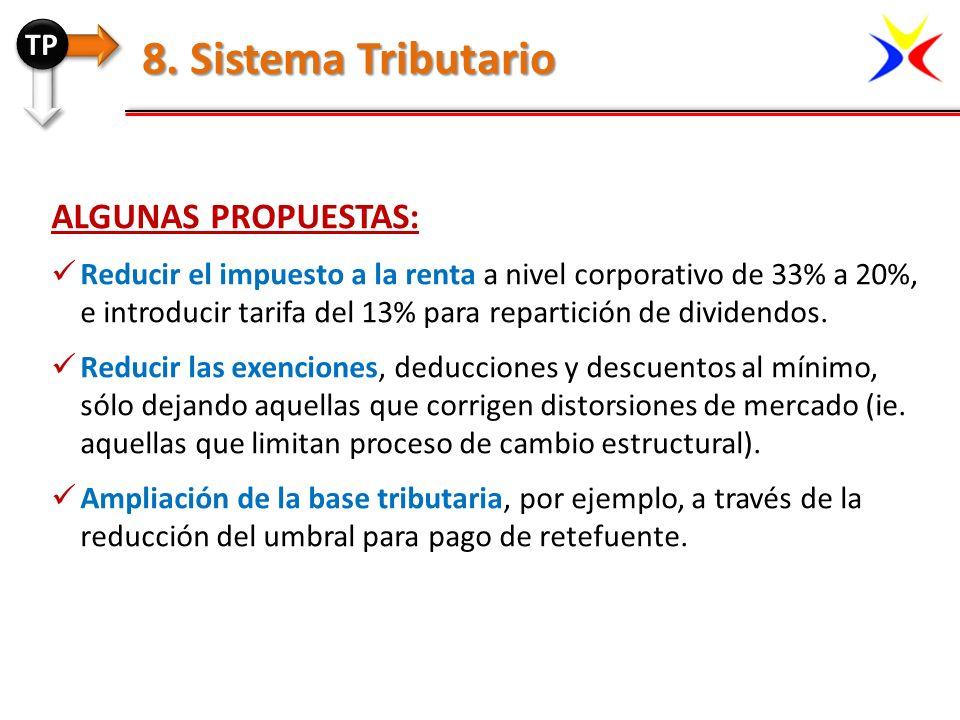 8. Sistema Tributario Algunas propuestas: TP
