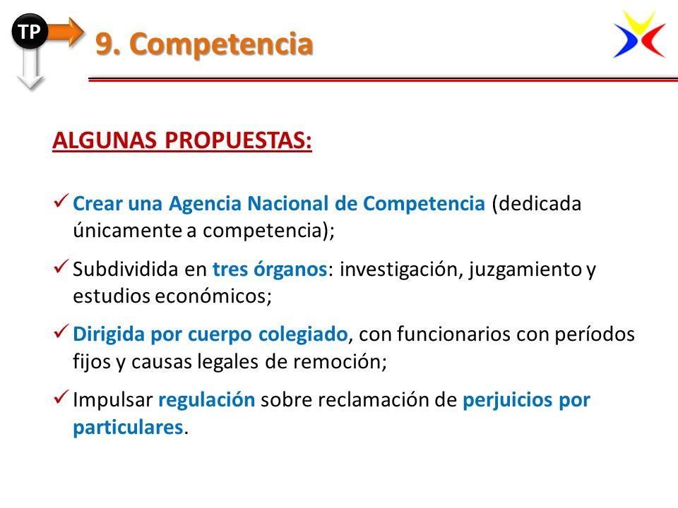9. Competencia Algunas propuestas: TP